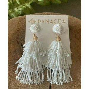 Panacea White Beaded Tassel Earrings Rachel Zoe
